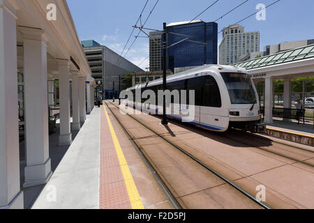 The Tide electrically powered light rail vehicle at a station Norfolk Virginia USA - Stock Photo