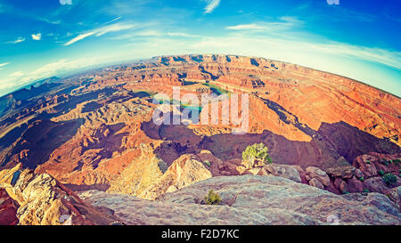 Dead Horse Point State Park at sunrise, fisheye lense photo, Utah, USA - Stock Photo