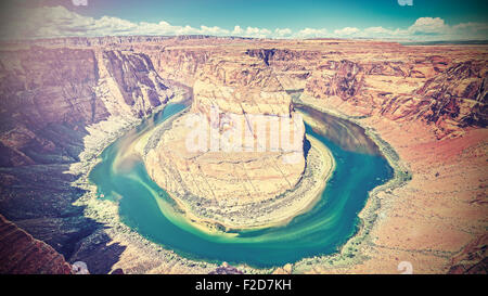Retro filtered photo of Horseshoe Bend, Colorado River, Arizona, USA. - Stock Photo