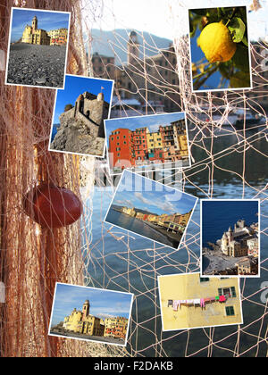 Collage of Camogli, Italy - Stock Photo