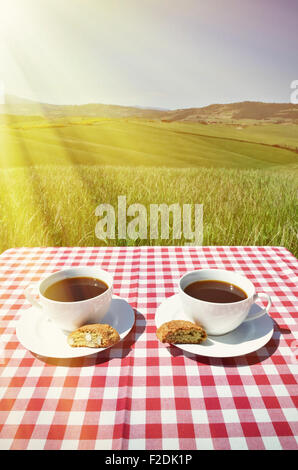 Coffee and cantuccini on the chequered cloth against Tuscan landscape. Italy - Stock Photo