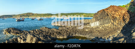 Panorama sunny early on Ganh Da Dia - Stock Photo
