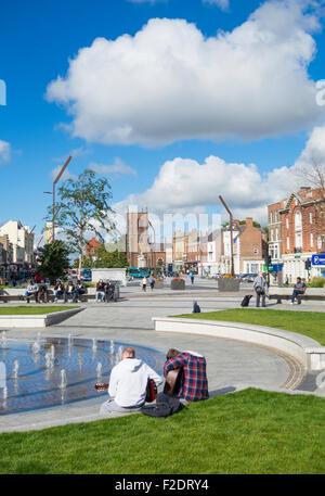 Stockton on Tees High street following major renovation work. England. UK - Stock Photo