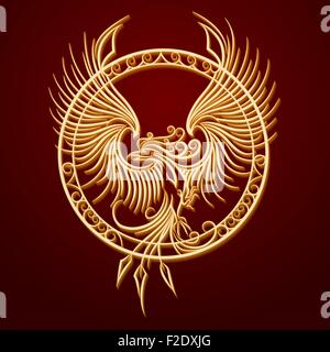 Phoenix Bird with rising wings in a circle. Ancient symbol of revival. - Stock Photo