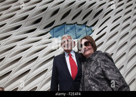 Los Angeles, California, USA. 16th Sep, 2015. Eli and Edythe Broad in front of The Broad, the museum of contemporary - Stock Photo