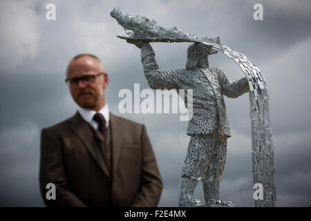Andy Scott pictured at the official unveiling of Steel Man, his new sculpture made to commemorate those who lost - Stock Photo