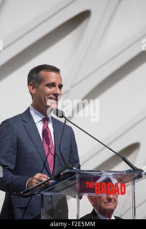 Los Angeles, California, USA. 16th Sep, 2015. Los Angeles Mayor Eric Garcetti speaking at the press opening of The - Stock Photo