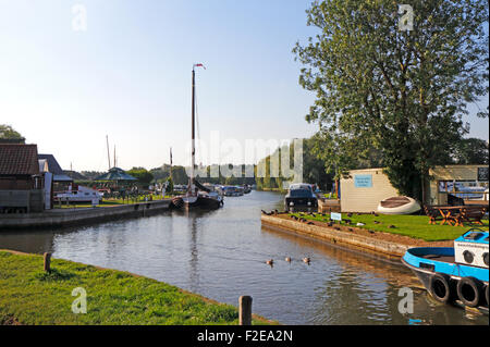 A view of Stalham Staithe on the Norfolk Broads at Stalham, Norfolk, England, United Kingdom. - Stock Photo