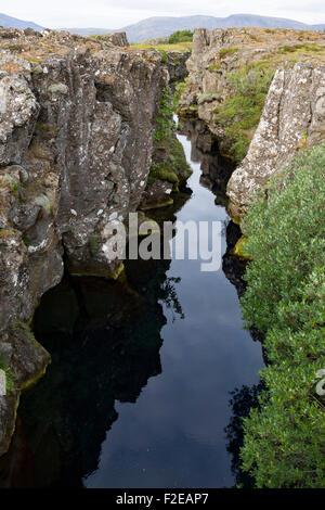 Thingvellir National Park, rift valley in Iceland - Stock Photo