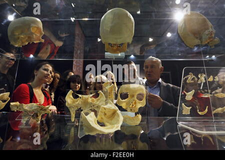 ST. PETERSBURG, RUSSIA. SEPTEMBER 17, 2015. Skulls on display at a scientific and educational exhibition titled - Stock Photo