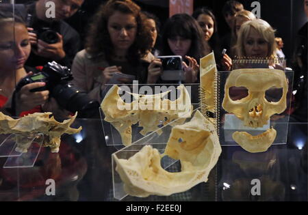 ST. PETERSBURG, RUSSIA. SEPTEMBER 17, 2015. Skull parts on display at a scientific and educational exhibition titled - Stock Photo