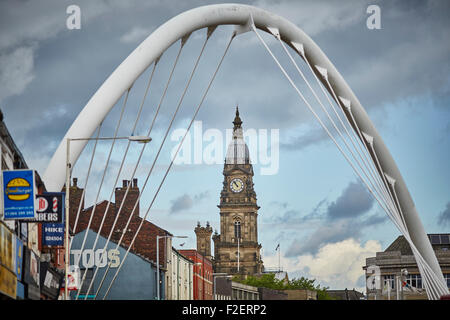 Bolton town hall  in the County of Lancashire framed by Gateway Bridge Arch  copyspace grade 2 two listed building - Stock Photo