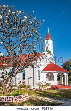 French Polynesia : Rotoava church in Fakarava - Stock Photo