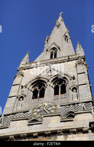 The octagonal spire of St Mary Magdalen church in Newark-upon-Trent, England. The spire is 236 feet high. - Stock Photo