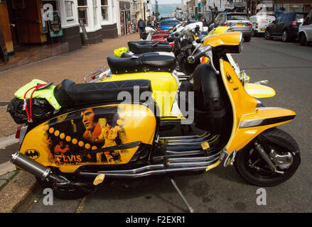 Scooters attending the 2015 International Scooter Rally at Ryde, Isle of Wight, Hampshire, UK. - Stock Photo