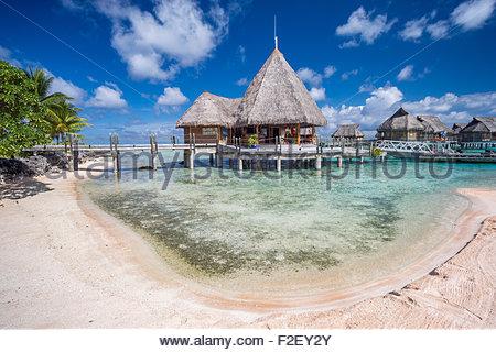 Tikehau Pearl Beach hotel (French Polynesia) - Stock Photo