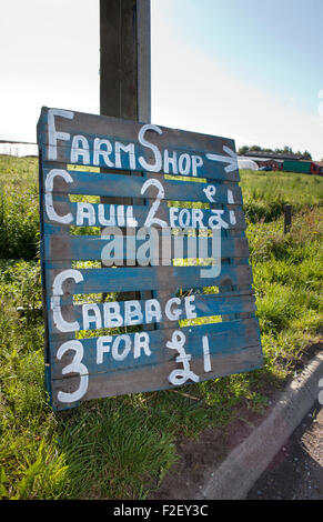 Farm Produce for sale in the villages and hamlets of Burscough, Lancashire, UK - Stock Photo