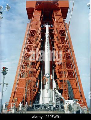 Atlas 21F Details Missile 21F on Launcher; ETR Pad 11 - Stock Photo