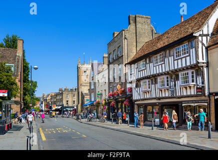 Bridge Street in the city centre, Cambridge, Cambridgeshire, England, UK - Stock Photo