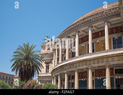 Politeama Garibaldi theater in Palermo, Sicily. Italy. - Stock Photo