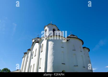 churches in Yaroslav's Court, Veliky Novgorod, Russia - Stock Photo