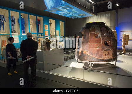 London, UK. 17/09/2015. TM-14 Soyuz descent module. The exhibition Cosmonauts - Birth of the Space Age opens at - Stock Photo