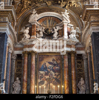 The interior of the Basilica of Saint Sylvester the First, Rome, Italy. - Stock Photo
