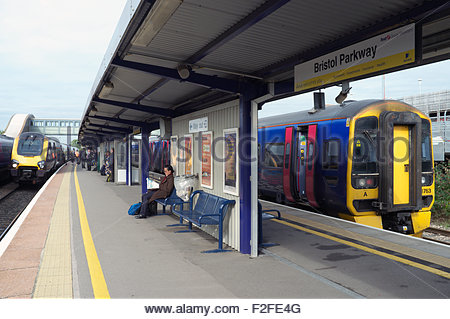 View of Bristol Parkway railway station, situated to the north of the city, in Stoke Gifford, South Gloucestershire, - Stock Photo