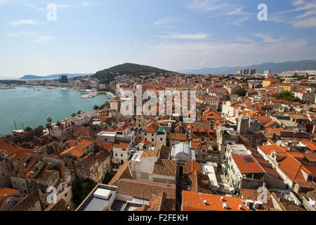 View of Split's historic Diocletian's Palace, old town and Marjan hill from above in Croatia. - Stock Photo