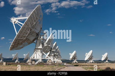 Radiotelescope dishes of the Very Large Array radio observatory in the Plains of St Agustin near Socorro, NM, USA - Stock Photo
