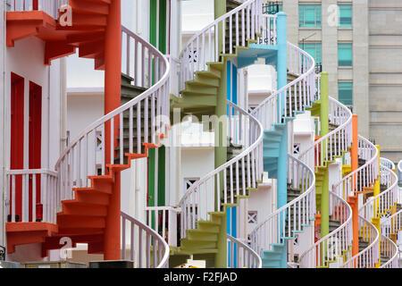 Singapore at Bugis Village spiral staircases. - Stock Photo