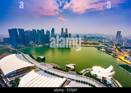 Marina Bay, Singapore aerial skyline. - Stock Photo