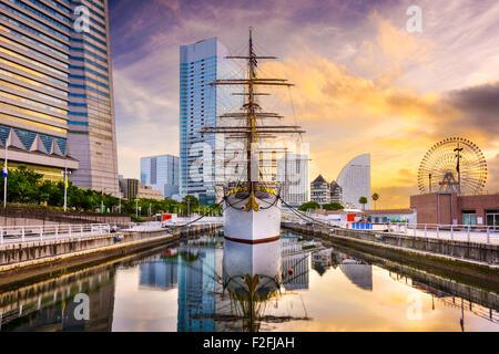 Yokohama, Japan dawn at Minato-mirai District. - Stock Photo