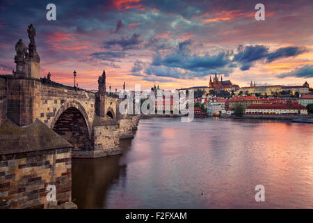 Prague. Image of Prague, capital city of Czech Republic, during beautiful sunset. - Stock Photo