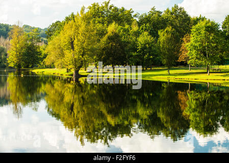 River reflections near Beaulieu sur Dordogne, Limousin, France - Stock Photo