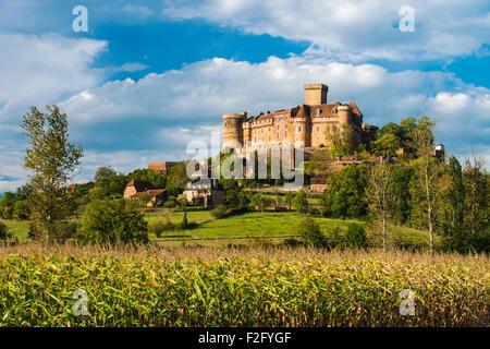 Castle de Castelnau-Bretenoux, Lot, Midi-Pyrenees, France - Stock Photo