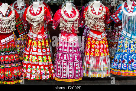 Ttraditional Miao dresses, Xijiang Miao Village, Guizhou, China - Stock Photo