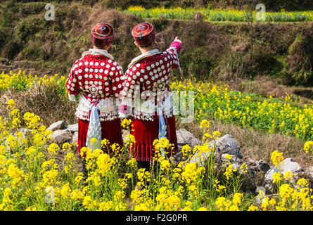 Young Miao women in the traditional costumes, Yunnan, China - Stock Photo