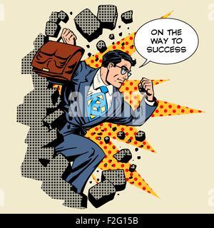 Business breakthrough success businessman hero breaks through th - Stock Photo