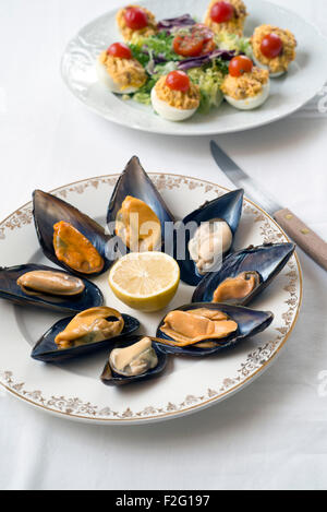 steamed mussels on white tablecloth. deviled eggs in the background - Stock Photo