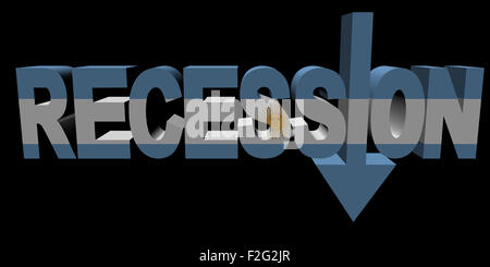 Recession text arrow with Argentina flag illustration - Stock Photo