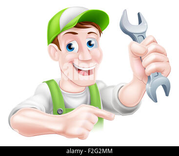 A happy cartoon plumber or mechanic man holding a spanner or wrench and pointing - Stock Photo