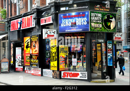 London, England, UK. London Theatre Bookings shop selling discount theatre tickets at 188 Shaftesbury Avenue - Stock Photo