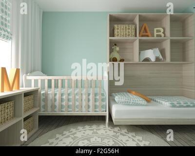 baby room, nursery, children's room, playroom, interior design, 3d render - Stock Photo