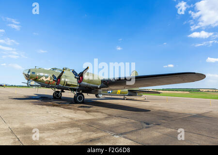 "Boeing B-17G Flying Fortress ""Sally B"" at the Imperial War Museum, Duxford, Cambridgeshire, England, UK - Stock Photo"