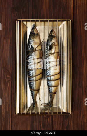Raw mackerel fish ready for smoke-dried, top view - Stock Photo