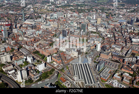 aerial view of the Manchester skyline, UK from Piccadilly Station towards the city centre, UK - Stock Photo