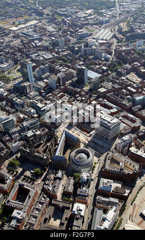 aerial view of Manchester city centre from the Town Hall back to Piccadilly Station, UK - Stock Photo