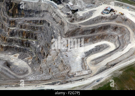 aerial view of the inside a stone quarry, Yorkshire, UK - Stock Photo