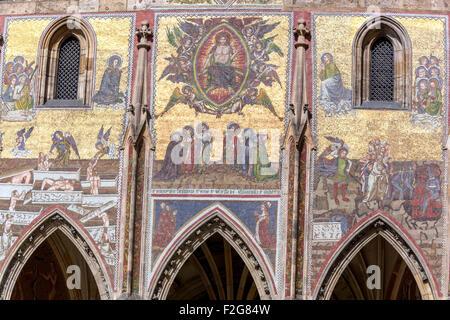 Prague Castle detail, Golden portal of the Last Judgement, Gothic mosaic, UNESCO, Czech Republic, Europe - Stock Photo